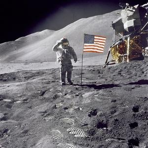 Apollo 15 Astronaut David Scott, Gives a Military Salute to US Flag on the Moon, July 30, 1971