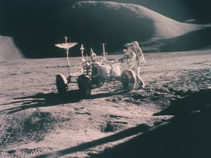 Apollo 15 Astronaut James Irwin with the Lunar Rover, August 1971