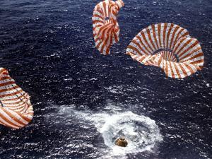 Apollo 15 Splashing Down in Pacific Ocean W. Parachutes Trailing Behind