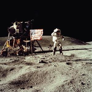 Apollo 16 Astronaut Salutes the US Flag on the Moon, July 21-24, 1971