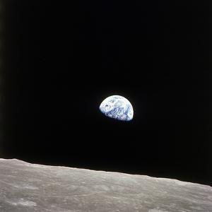 Apollo 8 View of Earth Rise over the Moon