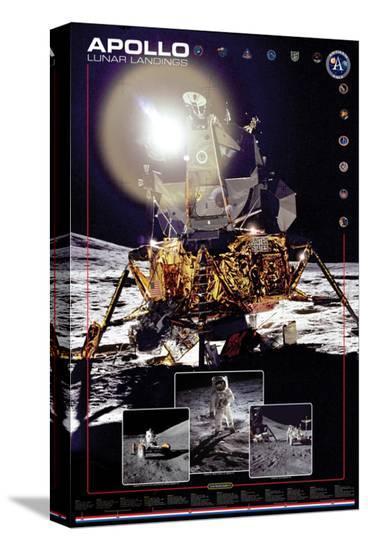 Apollo II Lunar Landings--Stretched Canvas Print