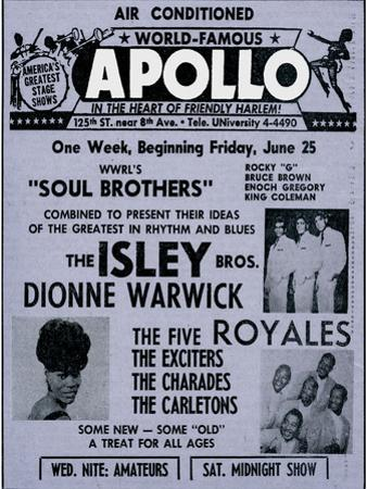 Apollo Theatre Ad: Soul Brothers, Isley Brothers, Dionne Warwick, Five Royales, Charades, Carletons
