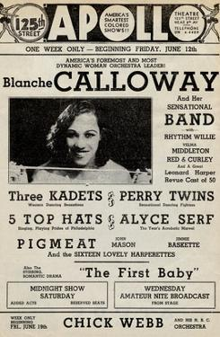 Apollo Theatre: Blanche Calloway and Band, Three Kadets, Perry Twins, 5 Top Hats and More