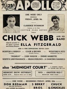 Apollo Theatre  Handbill: Chick Webb, Ella Fitzgerald, Cook and Brown, Wolford's Pets and More