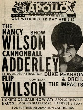 Apollo Theatre: Nancy Wilson, Cannonball Adderley, Duke Pearson, Flip Wilson, and The Impacts; 1968