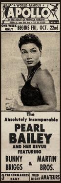 Apollo Theatre Newspaper Ad: Pearl Bailey and Her Revue, Bunny Briggs, and Martin Brothers; 1965