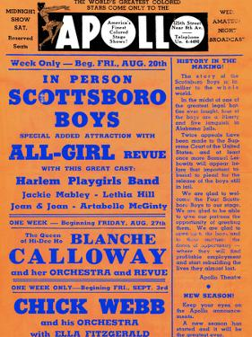 Apollo Theatre: Scottsboro Boys, Blanche Calloway, Chick Webb, Ella Fitzgerald, and More