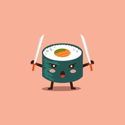 Vector Sushi Cartoon Character Illustration by Apple Art