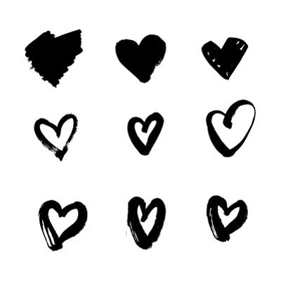 Heart Icons Set, Hand Drawn Icons and Illustrations for Valentines and Wedding Design. Sketch Grung by appler