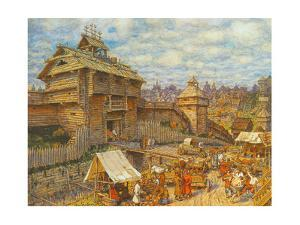 Wooden City of Moscow in the 14th Century by Appolinari Mikhaylovich Vasnetsov