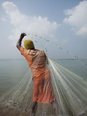Man Tossing Weighted Net into Shallow Water to Catch Shrimp by April Maciborka