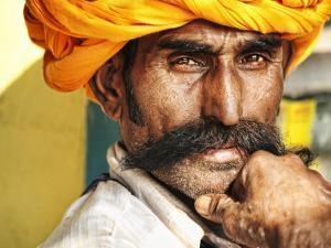 Portrait of Moustachioed Man by April Maciborka