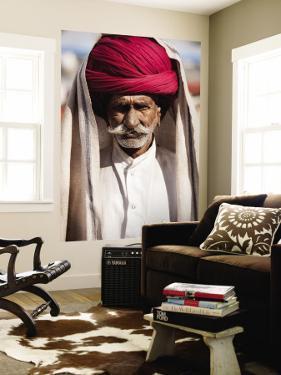 Portrait of Rajasthani Man with Red Turban by April Maciborka