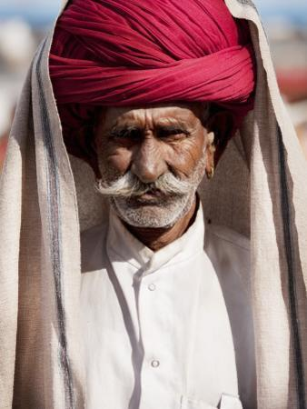 Portrait of Rajasthani Man with Red Turban by April Maciborka