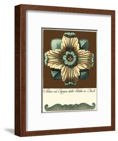 Aqua and Brown Rosette I--Framed Art Print