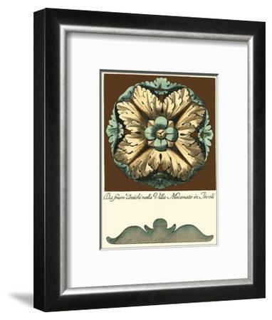 Aqua and Brown Rosette II--Framed Art Print
