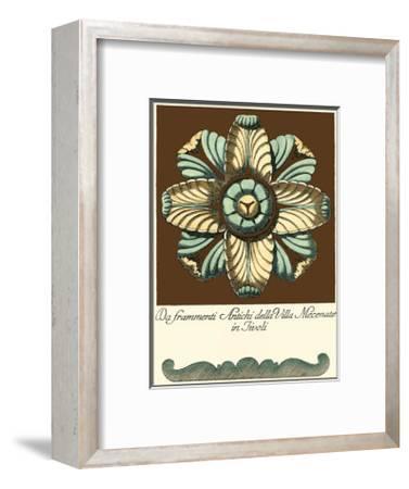 Aqua and Brown Rosette III--Framed Art Print