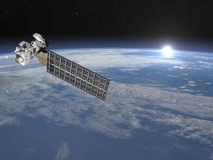 Aqua Satellite Orbiting Earth and Rising Sun