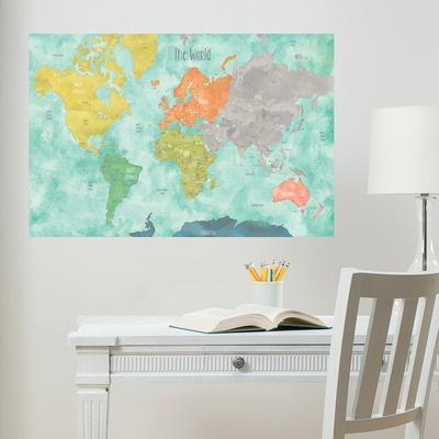 Aquarelle World Map Wall Decal