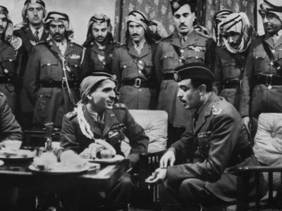 Arab Legion Col. Abu Nawar Talking to King Hussein Ibn Taltal in Front of Group of Legion Officers