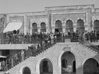 Arab meeting at the Rawdat el Maaref School on site of the Tower of Antonia, 1929