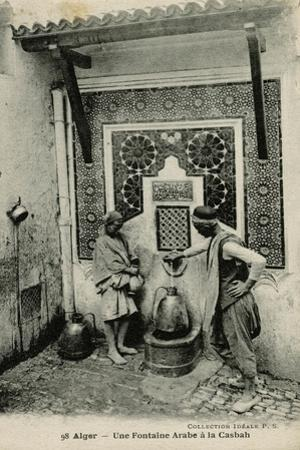 Arabs at a Water Fountain in Algiers, Algeria