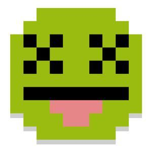 Vector Cute Cartoon Pixel Dead Face Isolated by Aratehortua