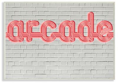 Arcade Graphic Sign on Brick Background Wall Plaque Art