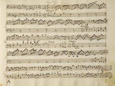 Manuscript Page from the Score of Opus V, 'sonata for Violin, Violone, and Harpsichord'