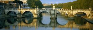 Arch Bridge across a River, Ponte Sant Angelo, Tiber River, Rome, Italy