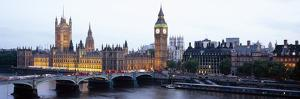 Arch Bridge across a River, Westminster Bridge, Big Ben, Houses of Parliament, Westminster, Lond...