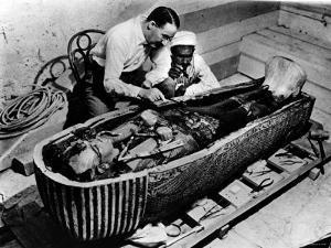 Archaeologist Howard Carter Examining Coffin of Tutankhamen, with 14th Century Egyptian Pharaoh