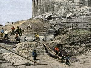 Archaeologists Excavating Ancient Ruins on the Acropolis, Athens, 1890s