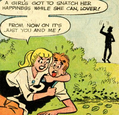 Archie Comics Retro: Archie and Betty Comic Panel; Snatching Happiness (Aged)