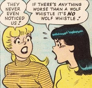 Archie Comics Retro: Betty and Veronica Comic Panel; Wolf Whistle (Aged)