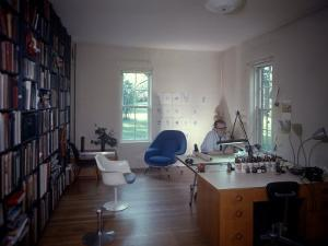 Architect Eero Saarinen at Home in His Study W. Furniture Designed by Him
