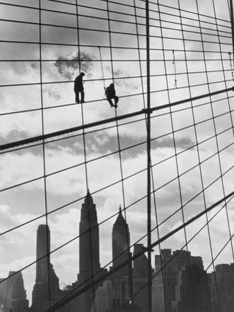 Brooklyn Bridge Workers by Archive Photos