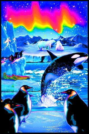 Arctic Aurora Blacklight Reactive Poster