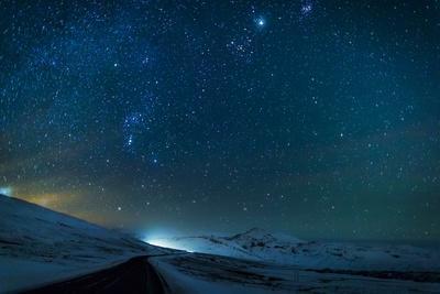 Milky Way Galaxy with Aurora Borealis or Northern Lights