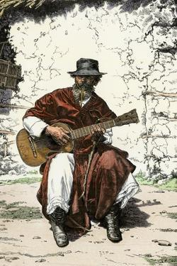 """Argentinian """"Gaucho Cantor,"""" or Cowboy Guitar-Player of the Pampas, 1800s"""