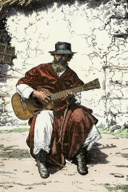 "Argentinian ""Gaucho Cantor,"" or Cowboy Guitar-Player of the Pampas, 1800s"