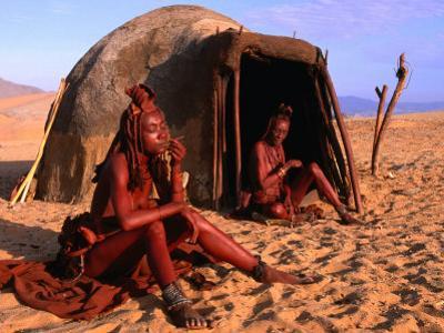Himba Women in Front of Traditional Hut, Kaokoveld, Kunene, Namibia