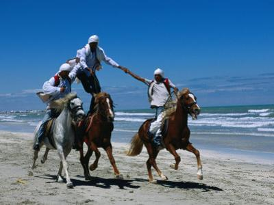 Horse Riding Acrobatics at Traditional Berber Wedding, Djerba Island, Medenine, Tunisia