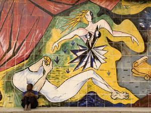Mural on Old Theatre Building, Beira, Sofala, Mozambique by Ariadne Van Zandbergen