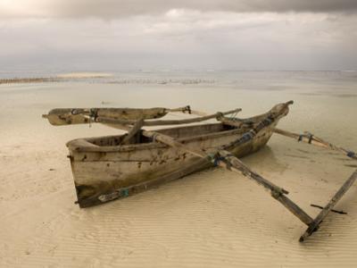 Pwani Mchangani Village on East Coast. Fishing Boat on Beach