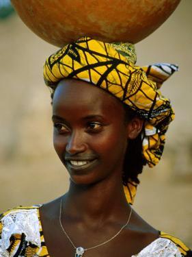 Smiling Peul (Or Fula) Woman Balancing Calabash on Her Head, Djenne, Mali by Ariadne Van Zandbergen