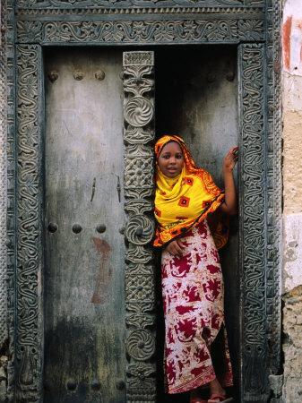 Swahili Girl in Zanzibar Doorway, Bagamoyo, Tanzania