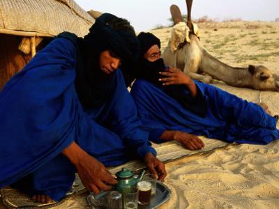 Tuareg Men Preparing for Tea Ceremony Outside a Traditional Homestead, Timbuktu, Mali