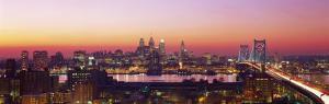 Arial View of the City at Twilight, Philadelphia, Pennsylvania, USA